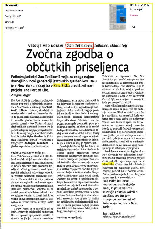 Zvočna zgodba o občutkih priseljenca - Ingrid Mager, 1. 2. 2016, Dnevnik