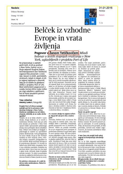 Belček iz vzhodne Evrope in vrata življenja - Tina Lešničar, 31. 1. 2016, NeDelo