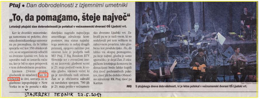 """""""To da pomagamo šteje največ"""" - Štajerski tednik, 27. 5. 2014"""
