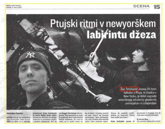 Ptujski ritmi v newyorkškem labirintu džeza - Sebastijan Kopušar, 4. 3. 2012, Nedeljske novice