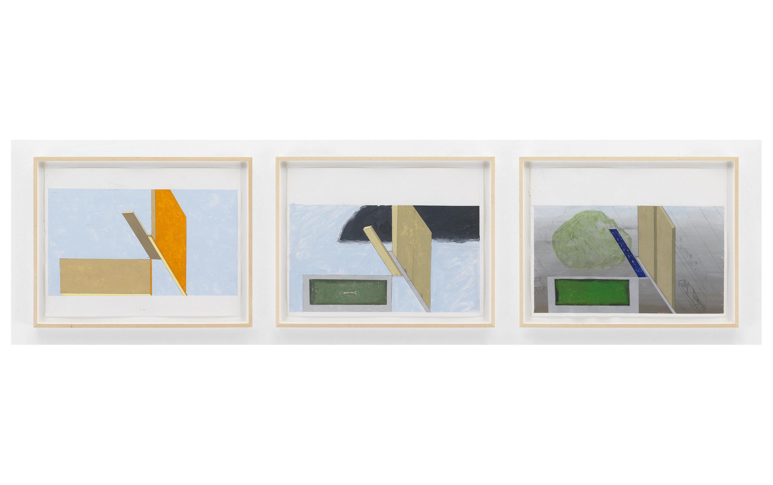 Mernet Larsen   Three studies for Yellow Bus,  2007