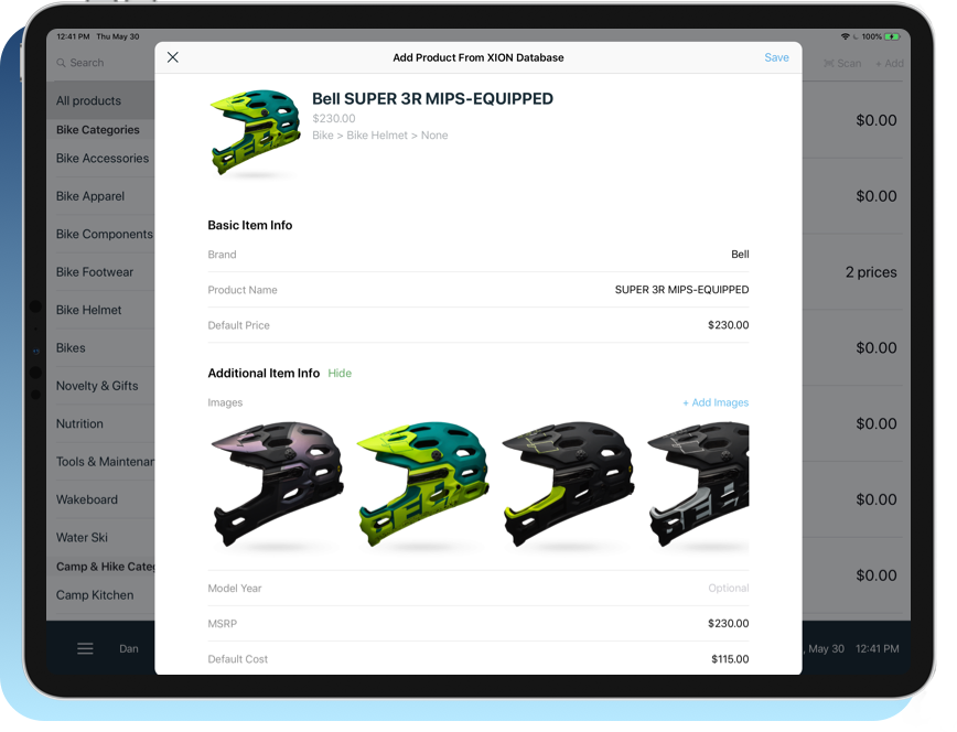 Add any product instantly. - With a database of over 150,000+ outdoor products and the ability to scan any UPC and pull in product data from Google, adding products has never been easier.