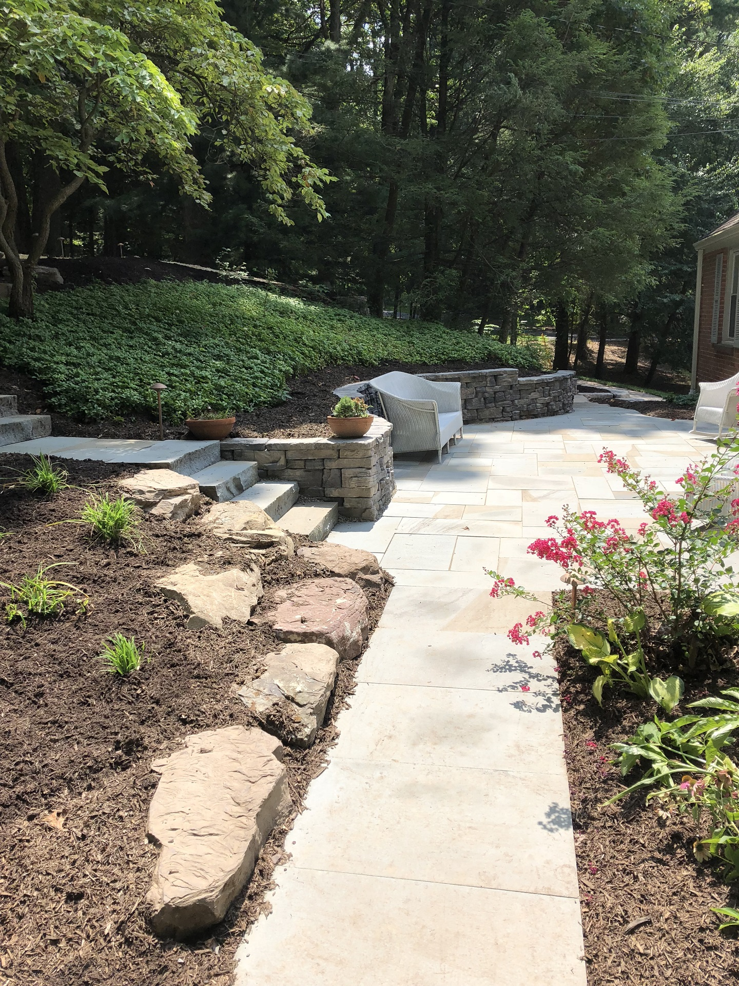 Patio with landscape plantings in Lititz, PA