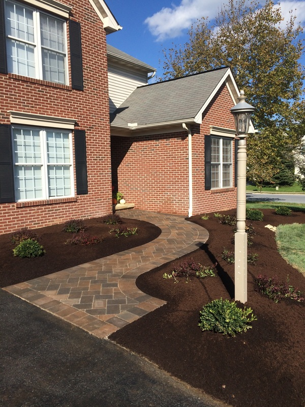 Landscape design with walkway in Lititz, PA
