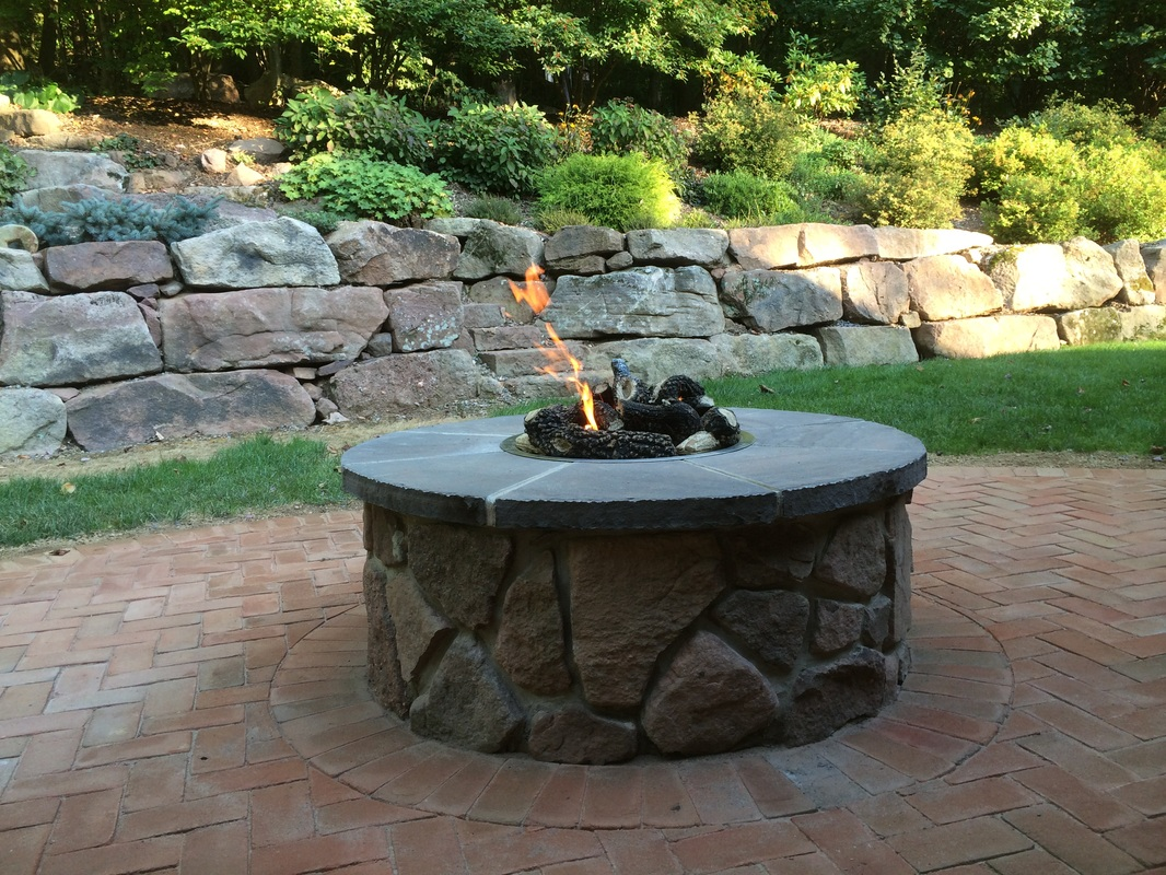 Patio with outdoor fireplace in Lititz, PA