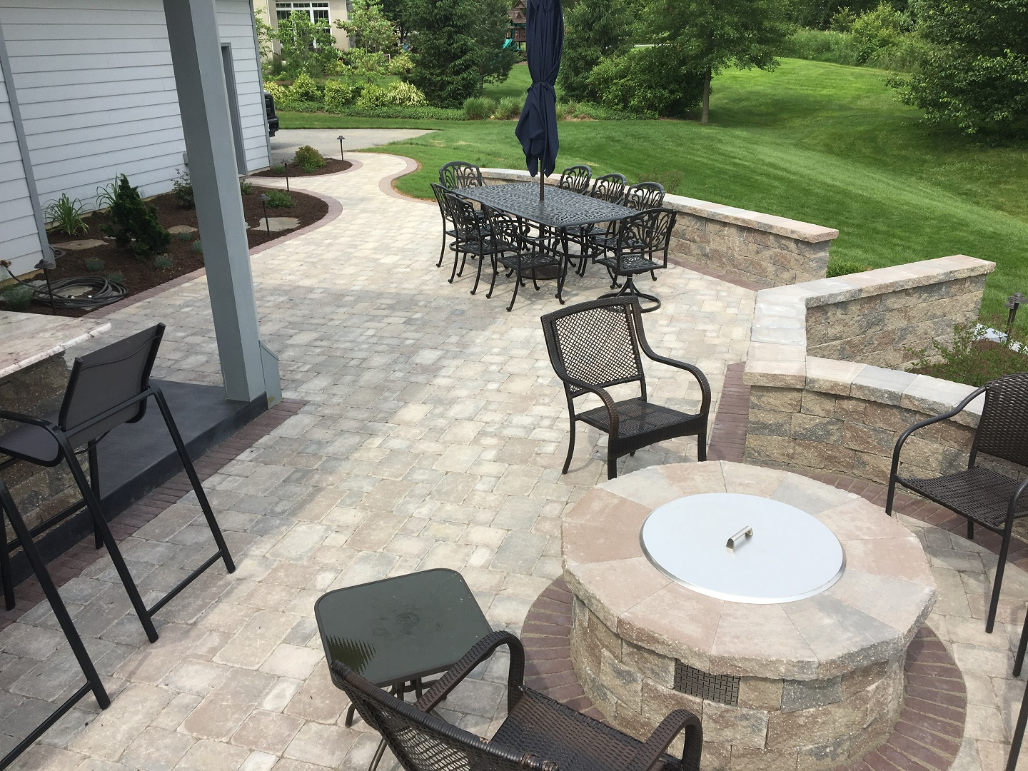 Brick patio with outdoor fireplace in Lititz, PA