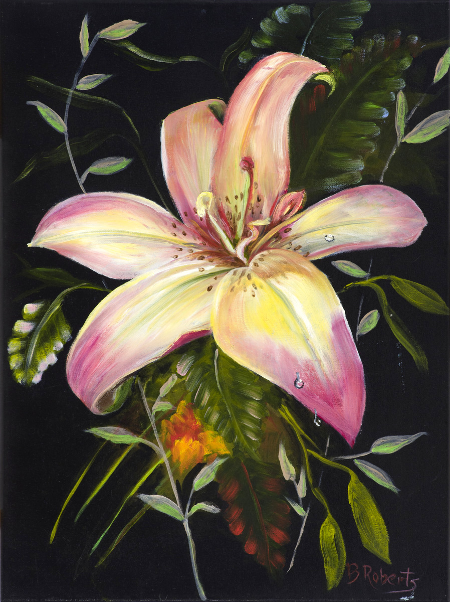 """SUMMER LILY"",  Oil on Canvas,  18x24 inches,  $1225"