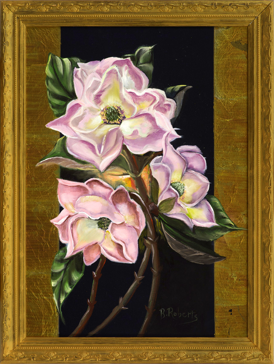 """PINK MAGNOLIAS"",  Oil on Canvas,  22x28 inches framed,  $1,250"