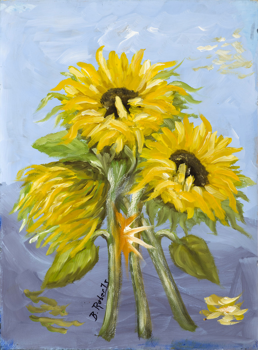 """SUNFLOWERS"",  Oil on Canvas,  10x14 (unframed), $350."
