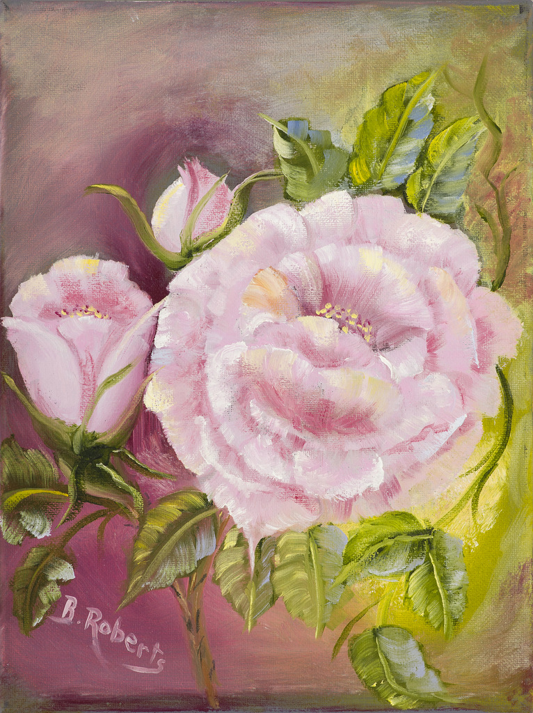 """PINK PEONIES"",  Oil on Canvas,  9x12 (unframed),  $275"