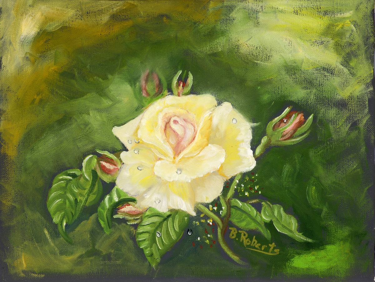 """YELLOW ROSE"",  Oil on Canvas,  9x12 (unframed),  $275"