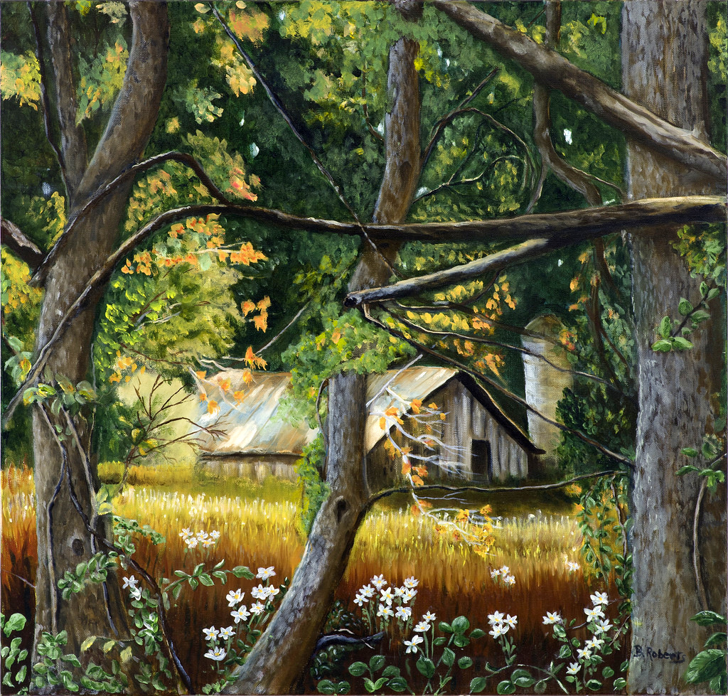 """""""OLD BARN ON BLUE RIDGE ROAD""""  Oil on Gallery Wrapped Canvas,  24x24x2 inches,  $1475"""