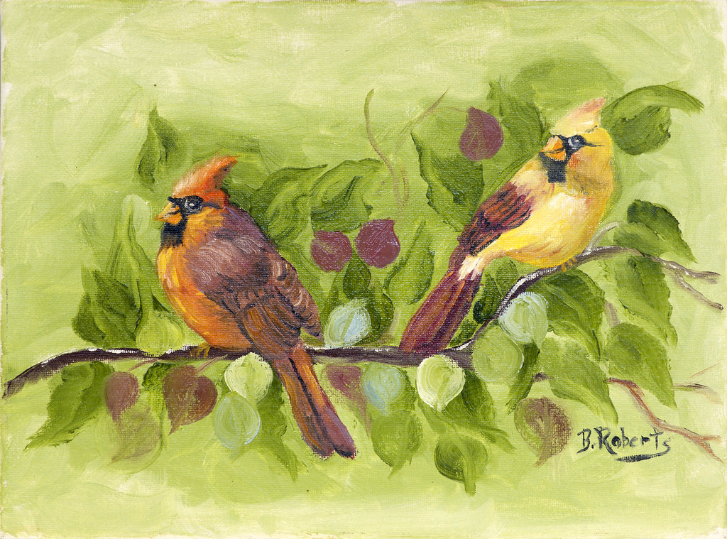 """CARDINALS"",  Oil on Canvas,  9x12 inches (unframed),  $285"