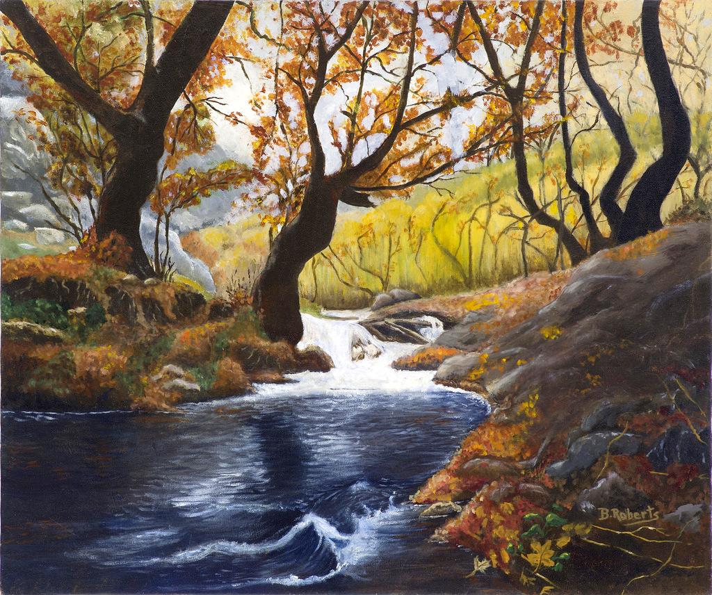 """AUTUMN STREAM"",  Oil on Canvas,  20x24 inches (unframed),  $1,200"