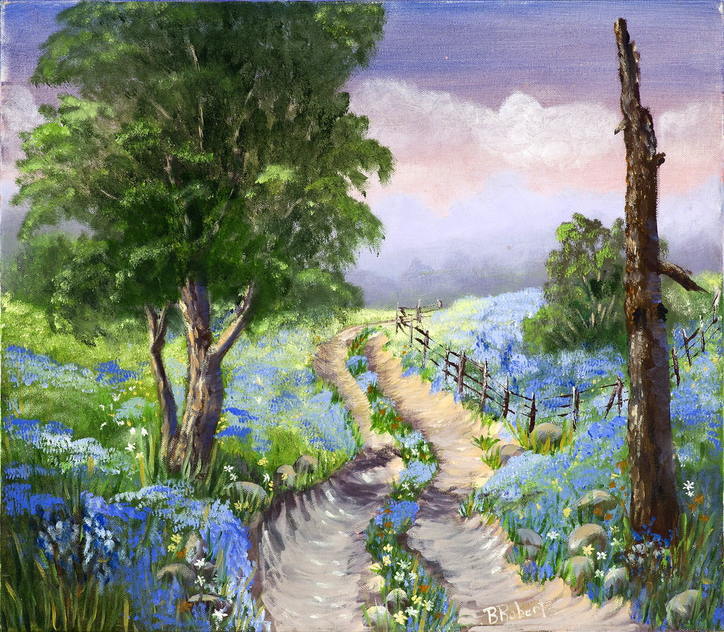 """""""BLUEBONNETS"""",  Oil on Canvas,  17.5x20 inches (unframed),  $925"""