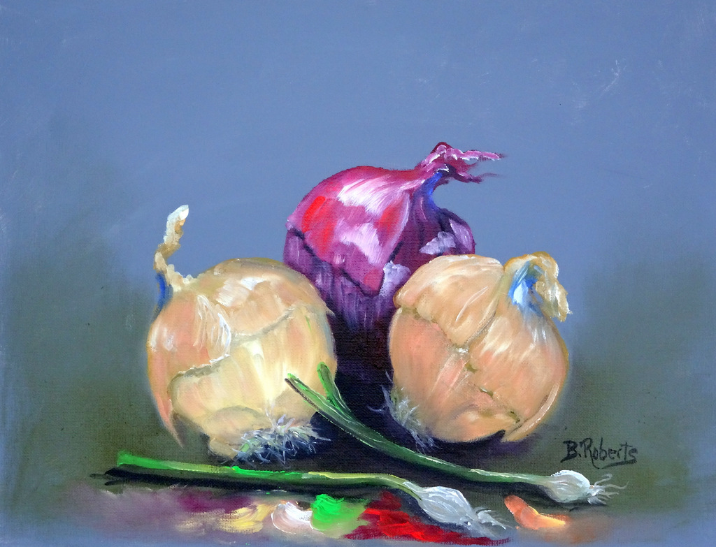 """ONION HARVEST I"",  Oil on Canves,  11x14,  (unframed),  $375."