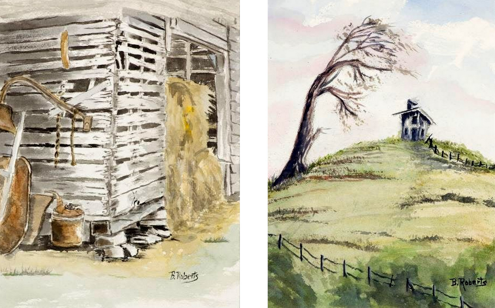 """""""THE SHEEP HERDER'S SHACK"""" & """" THE OLD HAYBARN"""",  Watercolor on Arches Paper,  9x11 inches (unframed),  $225 each or $400 for the pair"""