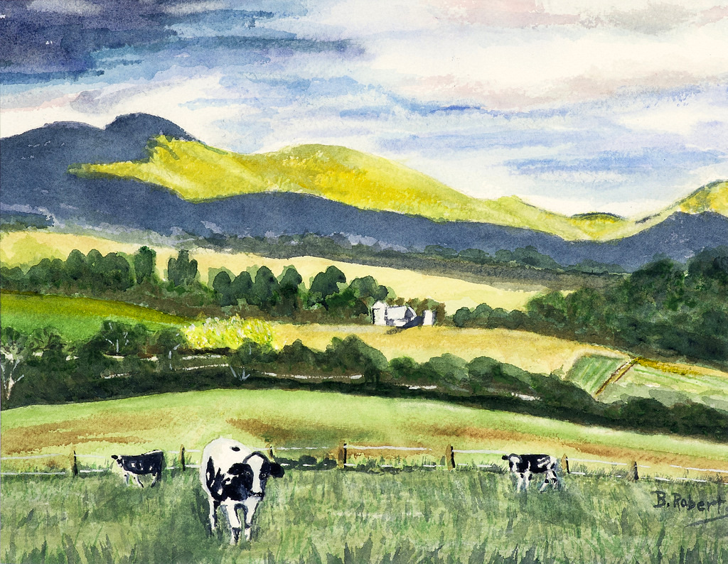 """""""THE DAIRY FARM"""",  Watercolor on Arches Paper,  11x14 inches (unframed),  $325"""