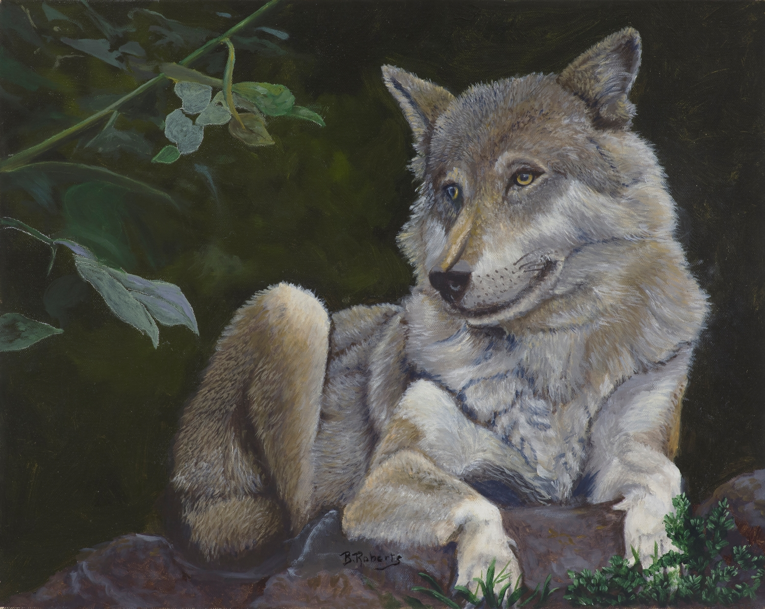 """MOTHER WOLF KICKS BACK"", Oil on Canvas, 16x20 inches (unframed), $850"