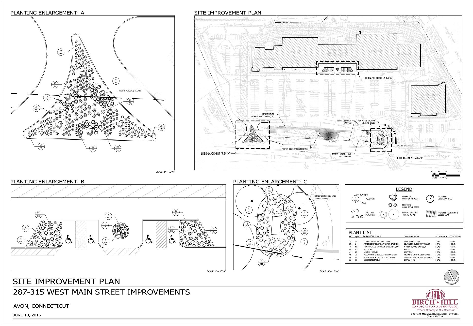 Site improvement plan - 2D landscape design in Newington, CT