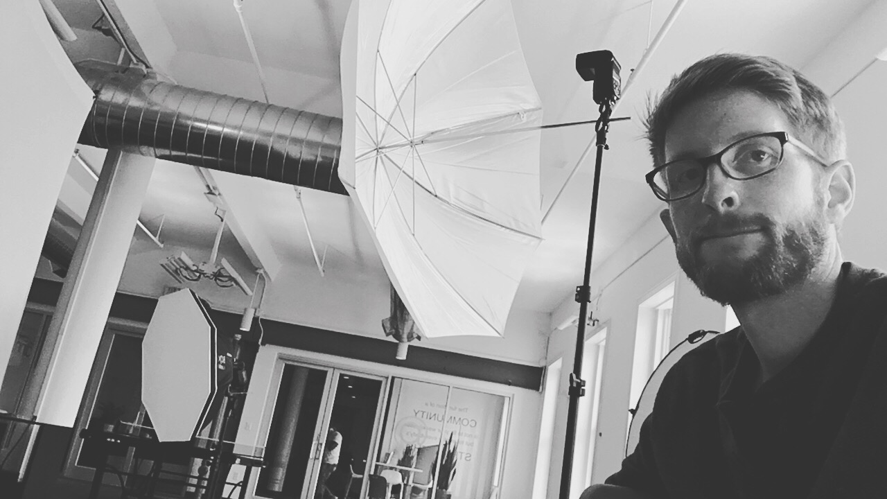 Setting up for Headshots at Cowork Annex downtown Pensacola, FL. June 2018