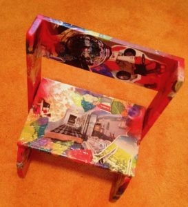 Say what you will about this step stool I collaged, but it kept my mind off Death for a while. -