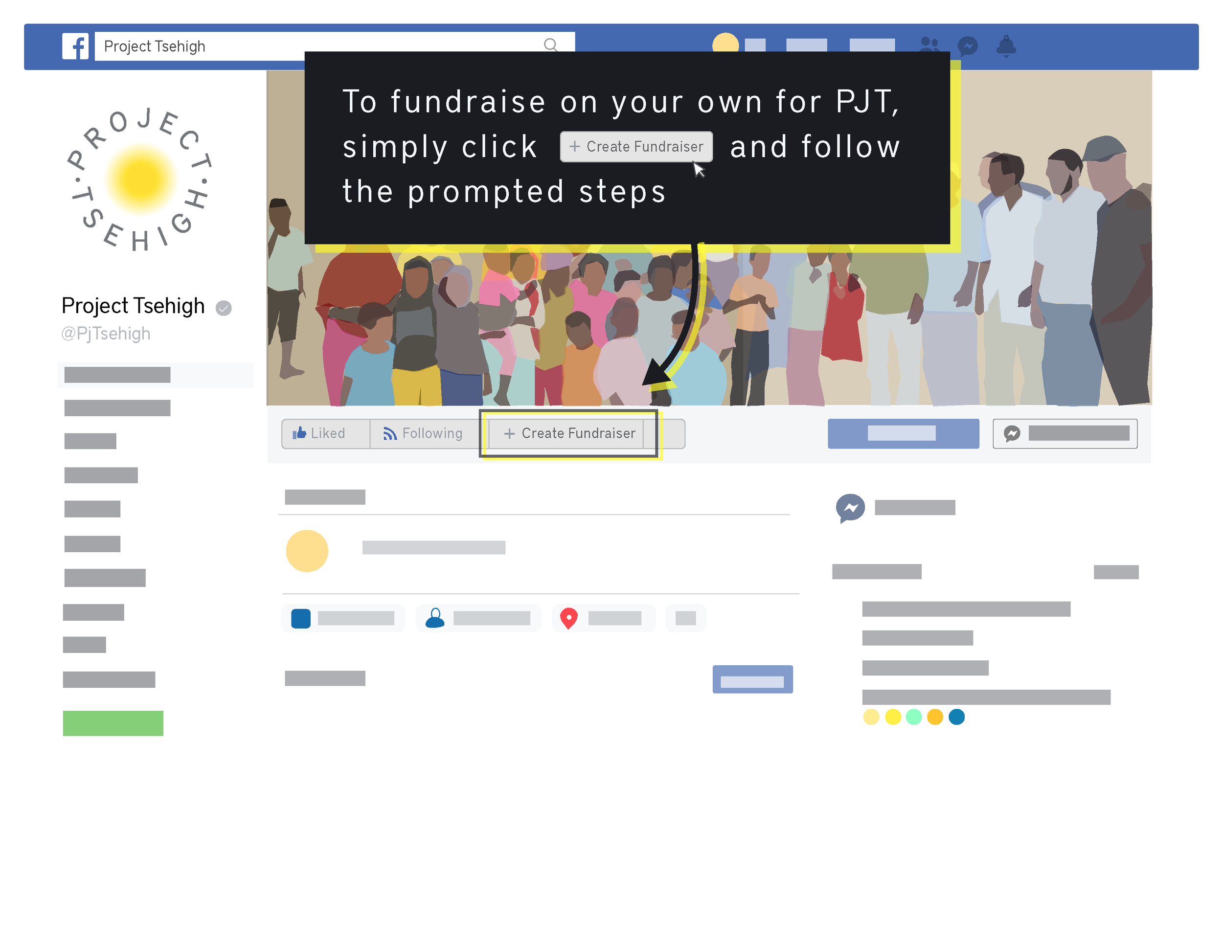 """Click """"+ Create a Fundraiser"""" on image"""