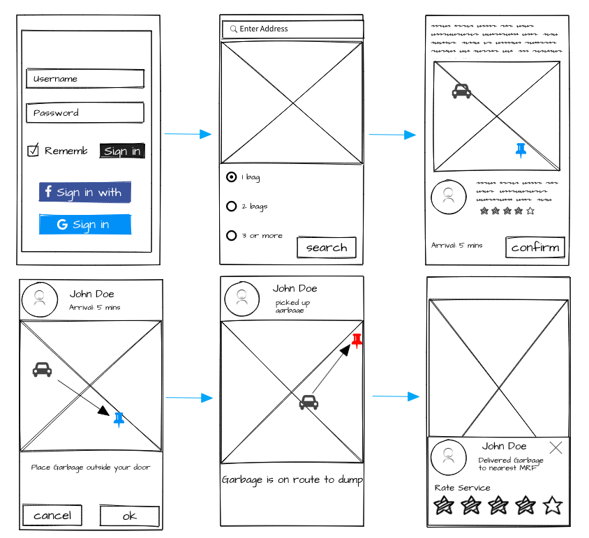 Low-Fi wireframes made with Balsamiq
