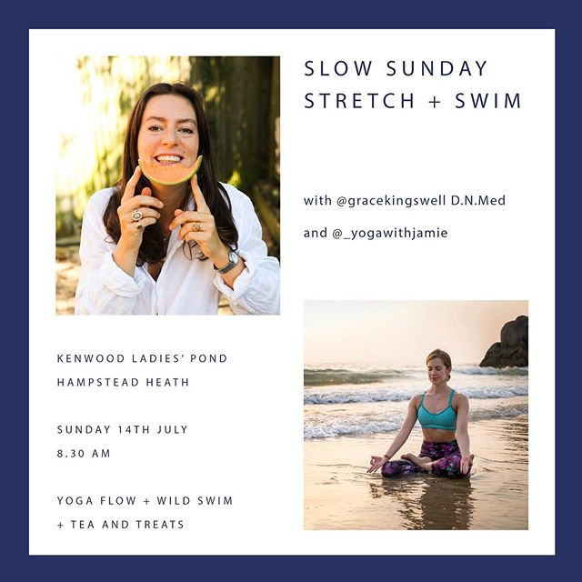 14th JULY 🎉 GET READY ‼️  💦We're so excited to announce our second @slowsundays_ ladies' event (gents we are working on one for you!)   ⏰ Sunday 14th of July at #HampsteadHeath  🙏🏻 Begin your Sunday with a gentle yoga flow led by @_yogawithjamie , before taking a refreshing dip in the ladies' pond, followed by a talk on the benefits of nature healing for anxiety and stress with tea and healthy treats baked / prepared by me! 🍉  🥳 Our last event was truly wonderful, connecting women from all over London. We're so looking forward to doing it all over again!   Link to tickets in my bio ☝🏼  X