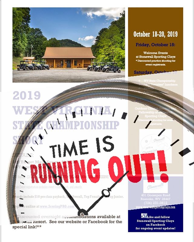 TIME IS RUNNING OUT!  We are only 2-days away from WV State Championship weekend! ***ONLINE REGISTRATION WILL CLOSE TOMORROW, THURSDAY, OCTOBER 17, AT 10:00 AM*** If you've been planning to attend and have not yet registered on ScoringPRO.com, be sure not to miss the deadline!  We have received a much greater-than-anticipated response, and are working hard to finalize the schedule and all details. ***As such, WE WILL NOT BE ABLE TO ACCEPT WALK-IN REGISTRANTS. ALL CONTESTANTS MUST PRE-REGISTER ON SCORINGPRO BY 10:00 AM ON 10/17/19*** Registrants, please watch tomorrow for a finalized schedule and important details to be posted on our social media pages, and sent to the email you provided upon registration.  We can't wait to see you!