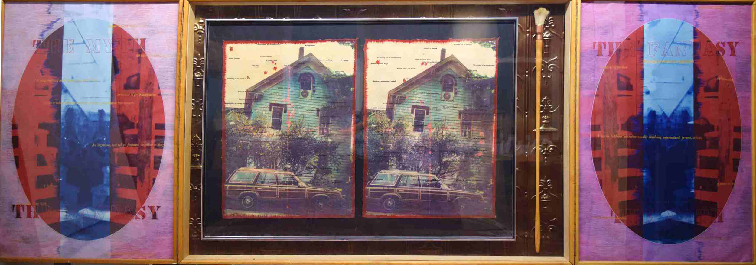 Greg Shattenberg, The Habit, 1991, mixed medium triptych, 118 x 39 inches (open) -