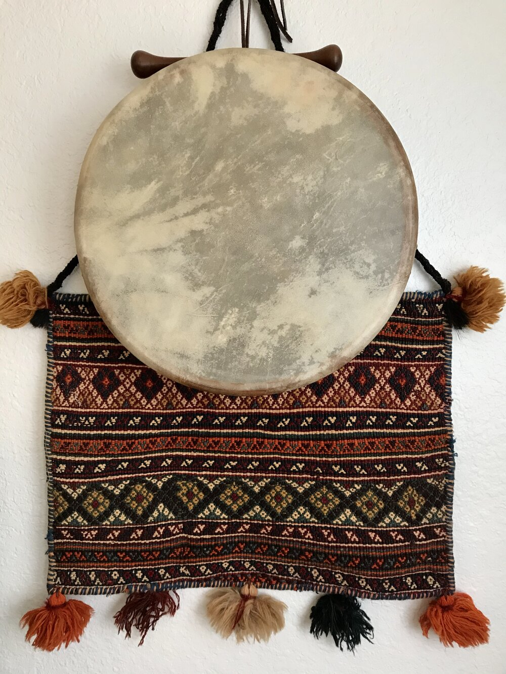 my drum and a traditional Armenian salt sack, both gifted to me by sister priestesses