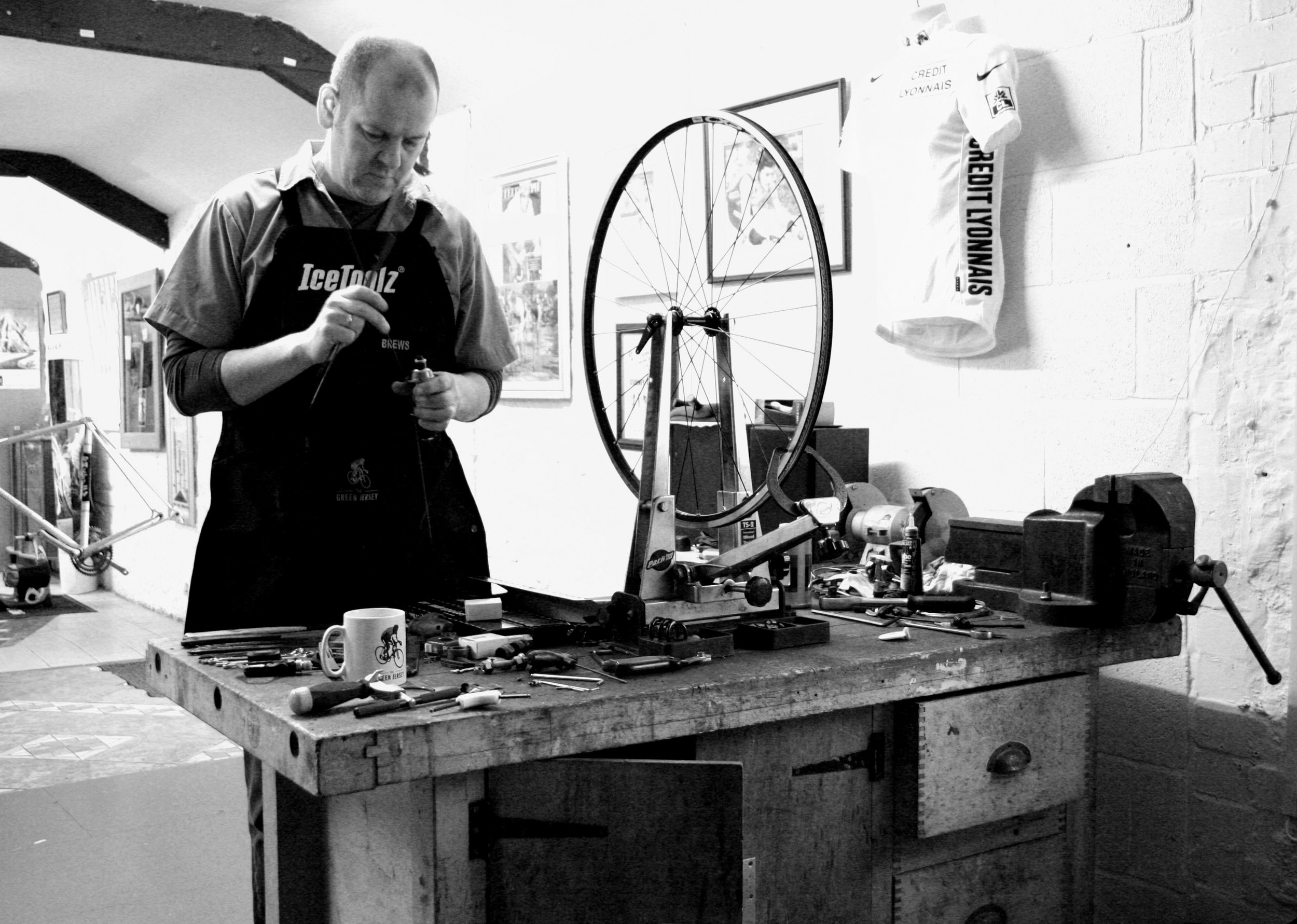 The Workshop - Richard runs the workshop. It will never be the tidiest work space you'll ever see but there's not much this old bloke doesn't know about keeping almost any bicycle running smooth.with over 30 years of experience in the cycling industry and a Cytech Level 2 mechanic, he can provide the perfect service for you and your bicycle.We offer 3 service packages, along with fixed prices for individual jobs or an hourly rate for anything else.Please contact us to book in.