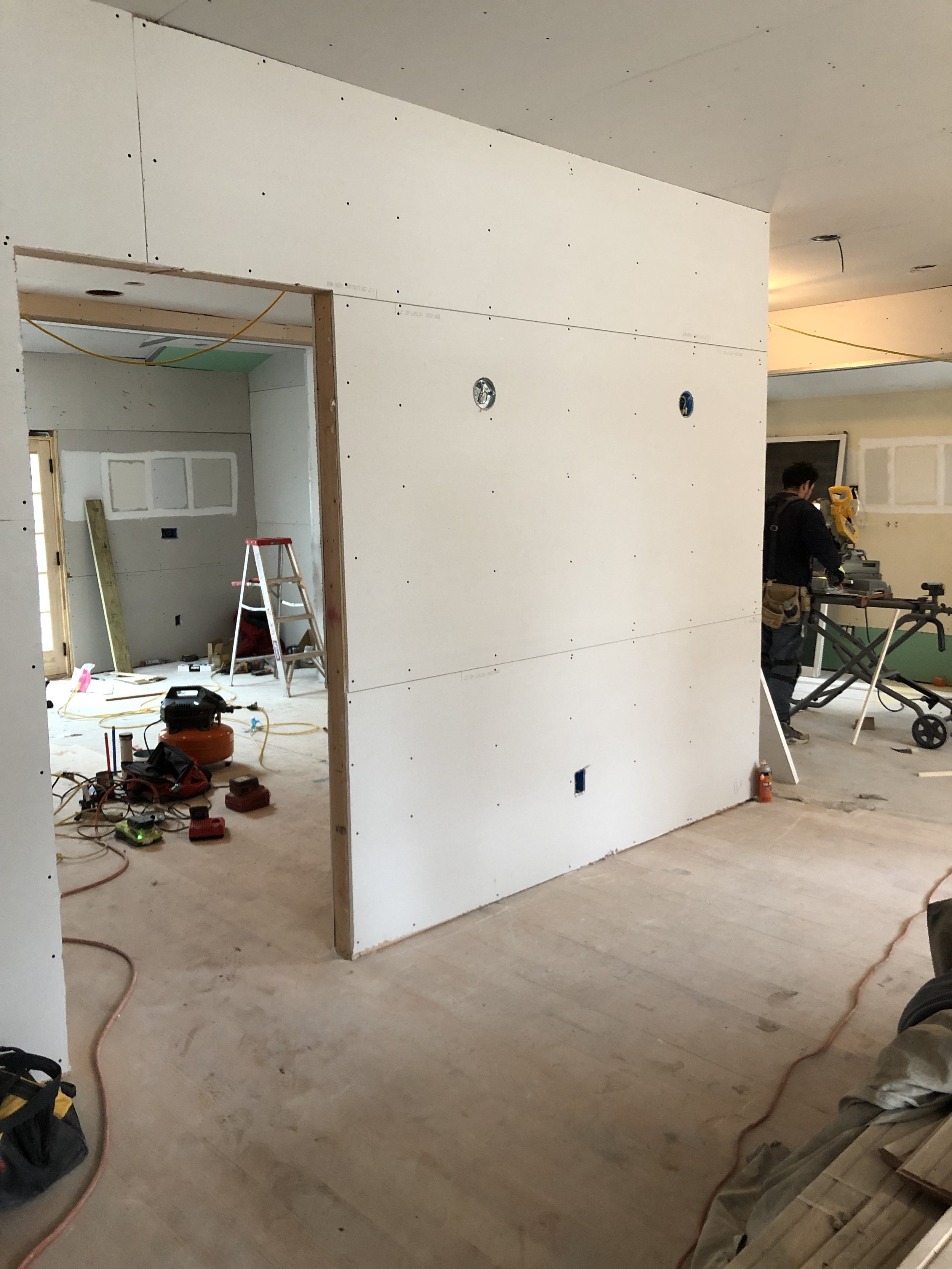 sheetrock in the dining
