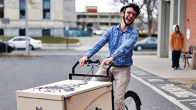 Man riding Berkshire Book Bike mobile library