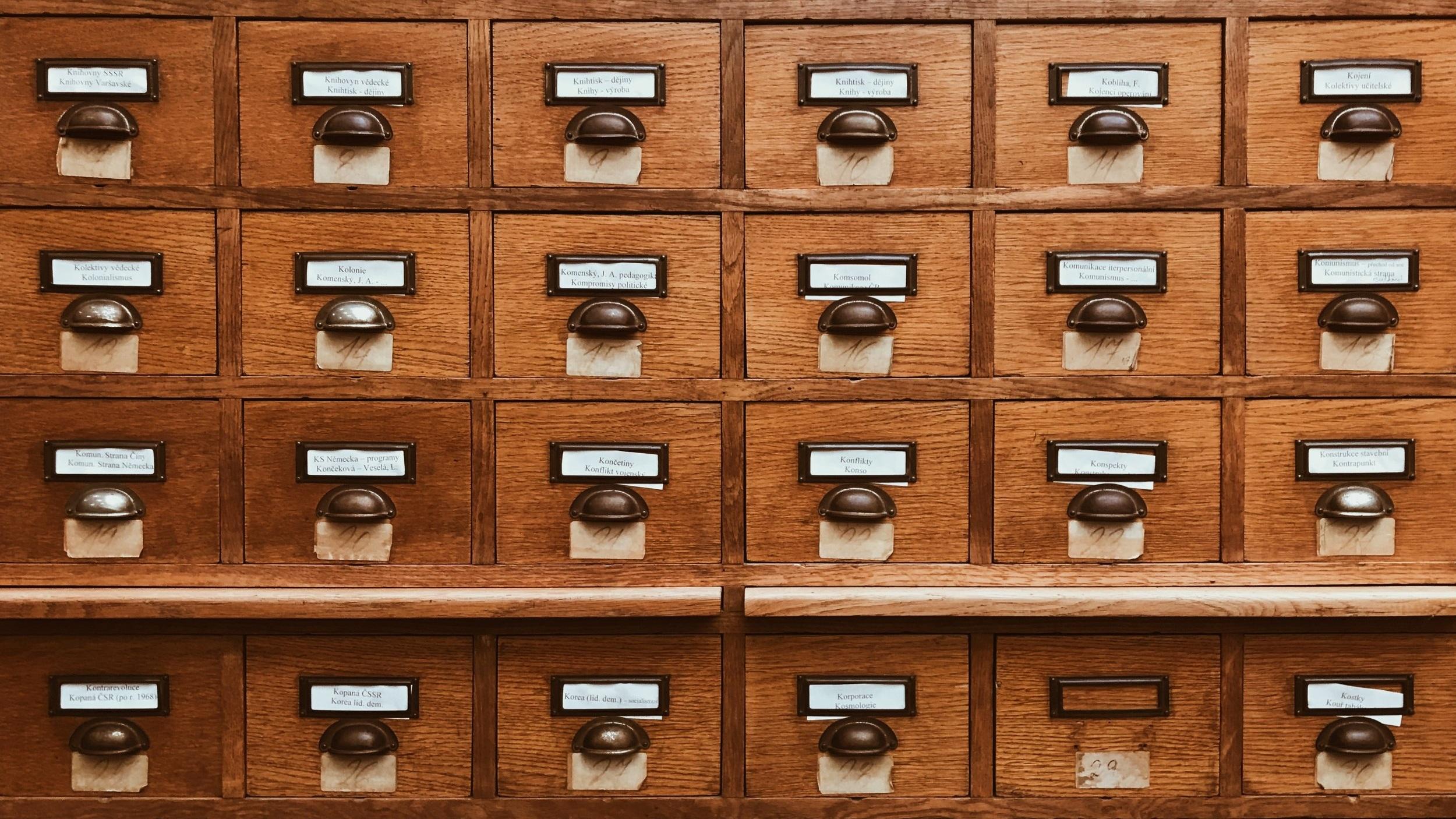 wooden card catalog