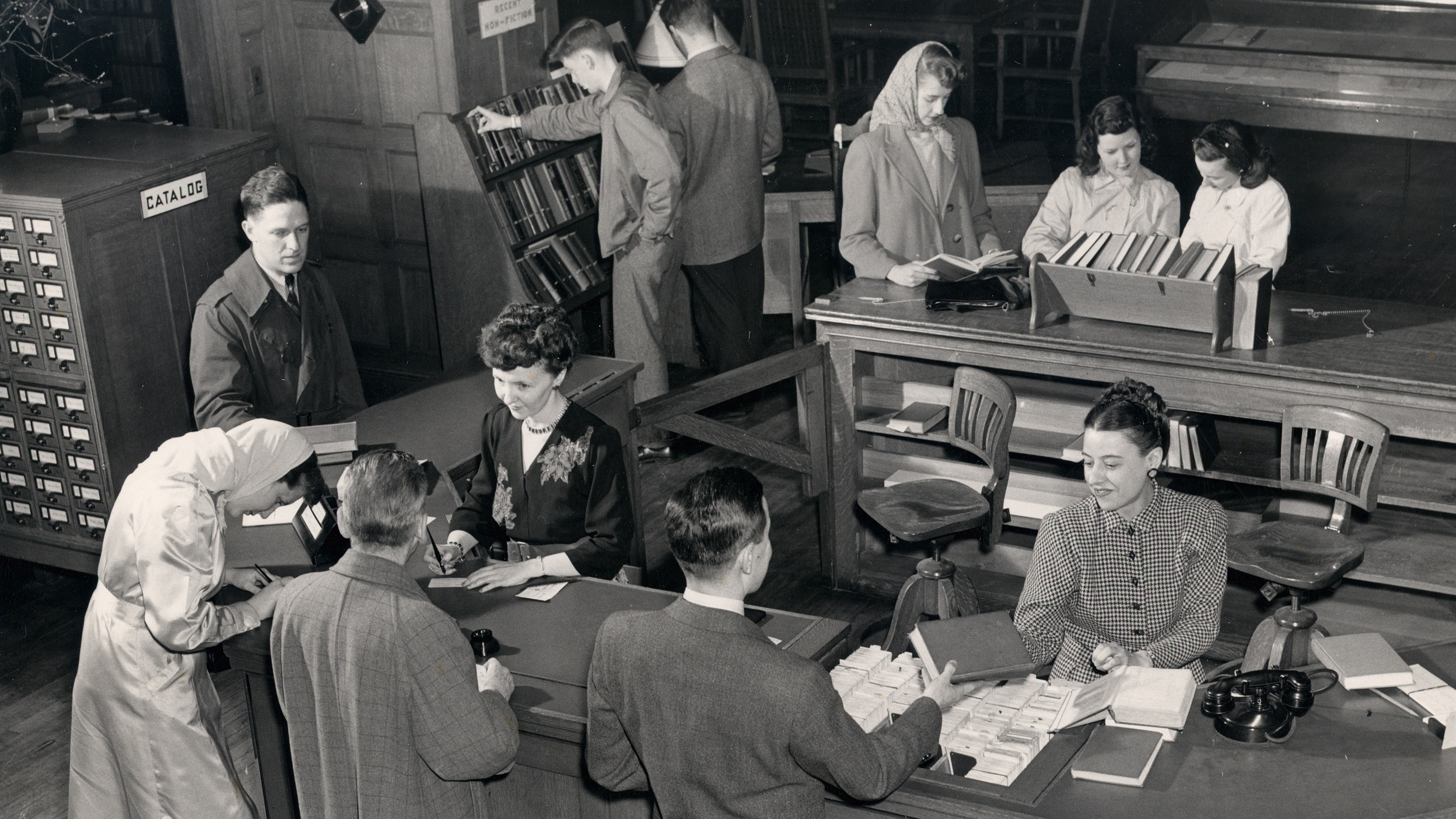 Circulation Desk at Berkshire Athenaeum Library circa 1940