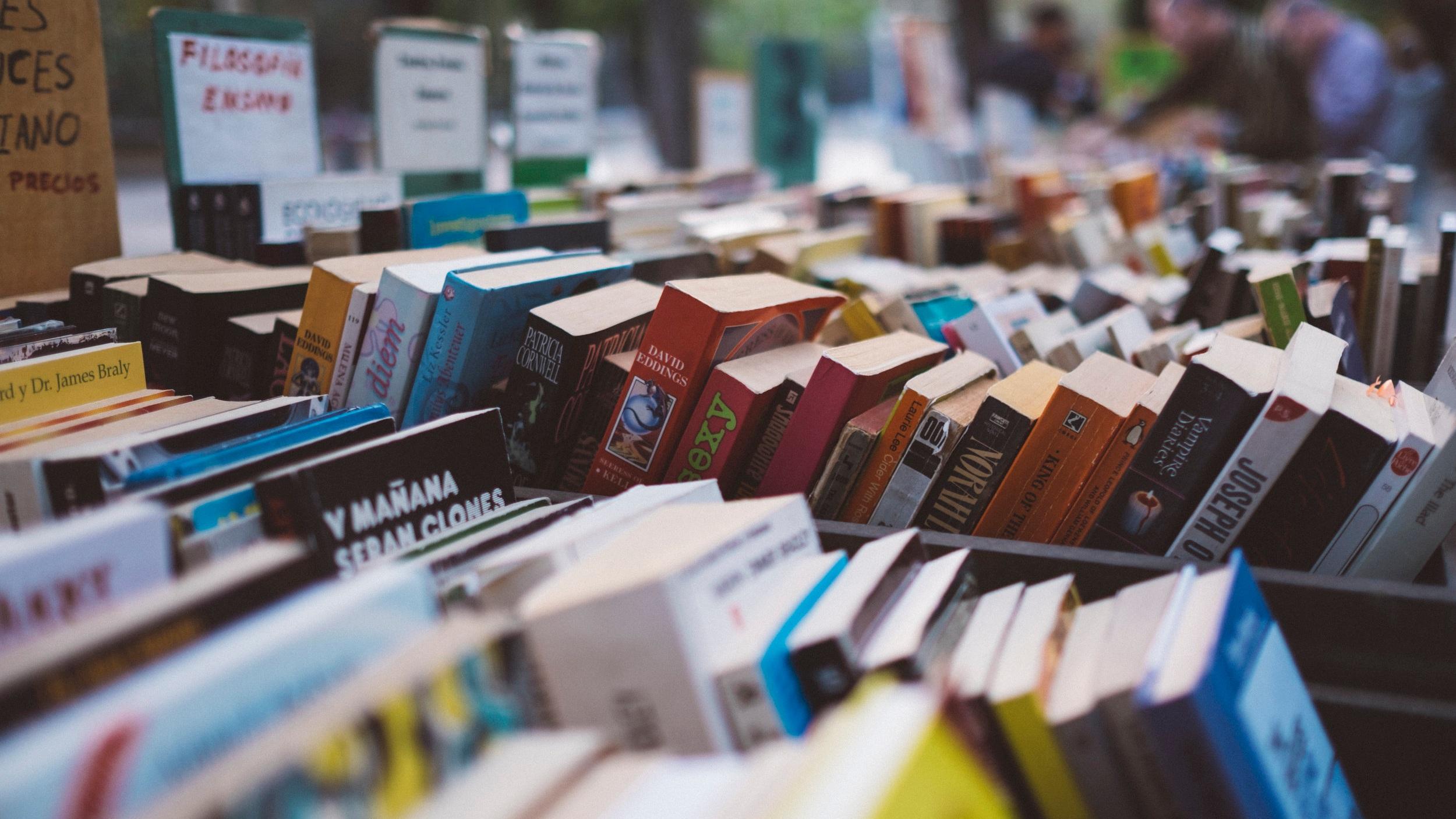 book sale, books in categories