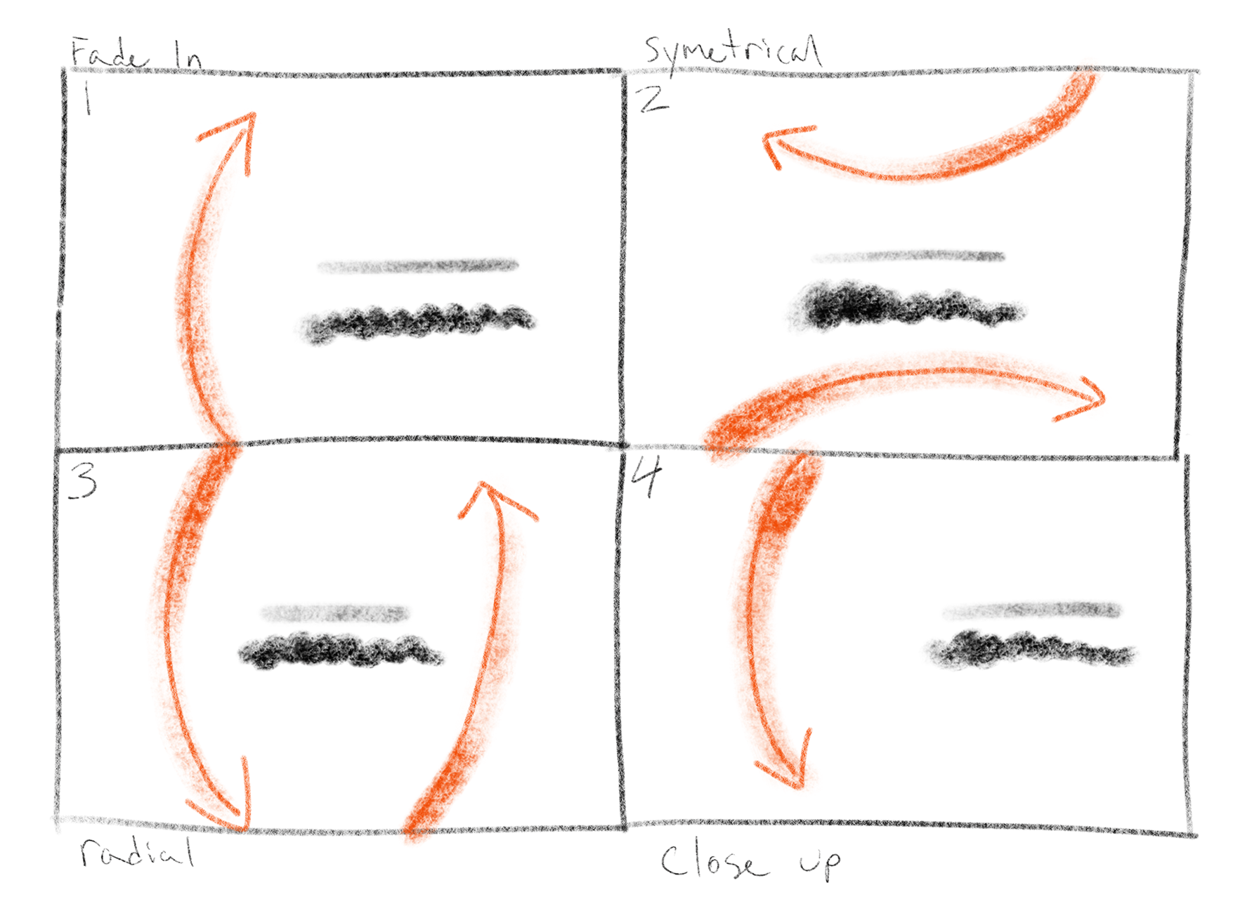Sketching storyboards helped to plan composition and movement prior to computer animation.