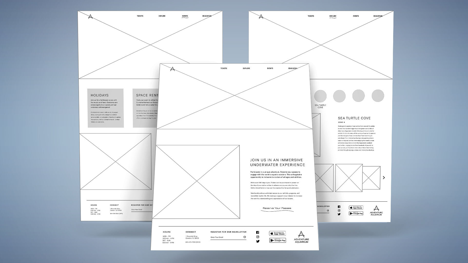 Wireframes aided content organization prior to visual design.