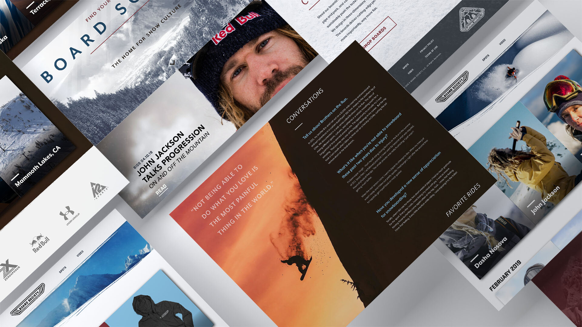 Screenshots from the web design