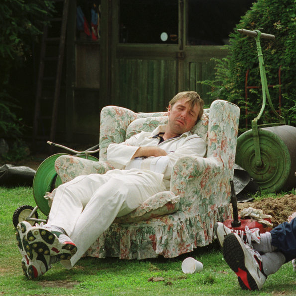 Perhaps Southgate CC's most famous past player taking one of his trademark naps.