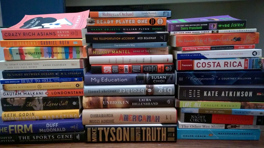 The full stack of 38 books I read from start to finish in 2014. January 1, 2015. Houston, Texas.