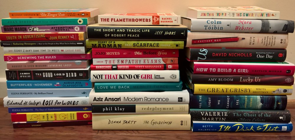 A hallway line-up of the books I read in 2015--good, bad, and boring. January 2016.