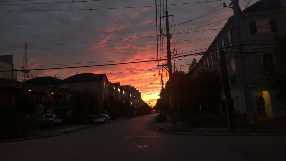 Good morning, Sunshine! (Yes, the picture slants. I rather like it that way.) October 23, 2014. Magnolia Grove, Houston, Texas.