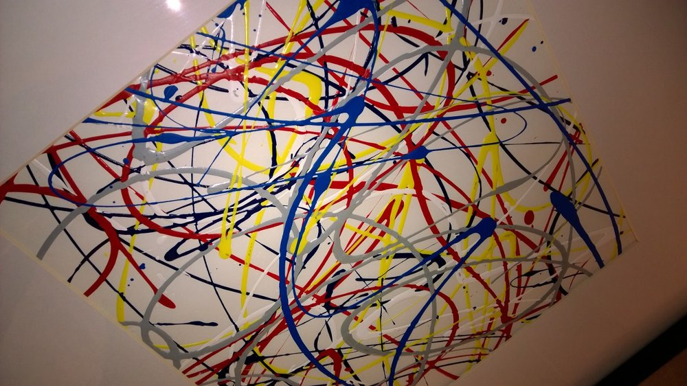 Squiggle art in my Baltimore hotel room. Fine art? No. Bright and friendly? Yep! April 2014.
