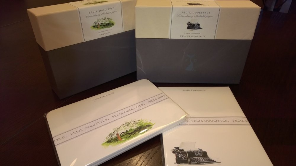 My beautiful Felix Doolittle personalized stationery, ready for real-mail creation. October 5, 2014.