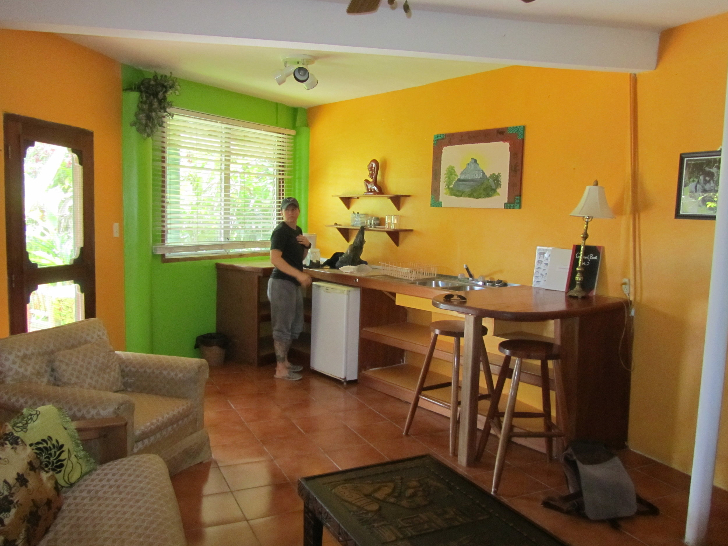 The breakfast area in our room at the Belize Jungle Dome, where I worked during the Cayo District portion of my recent Belize trip. My travel buddy (on the left) helped police me from working too much. December 2012.