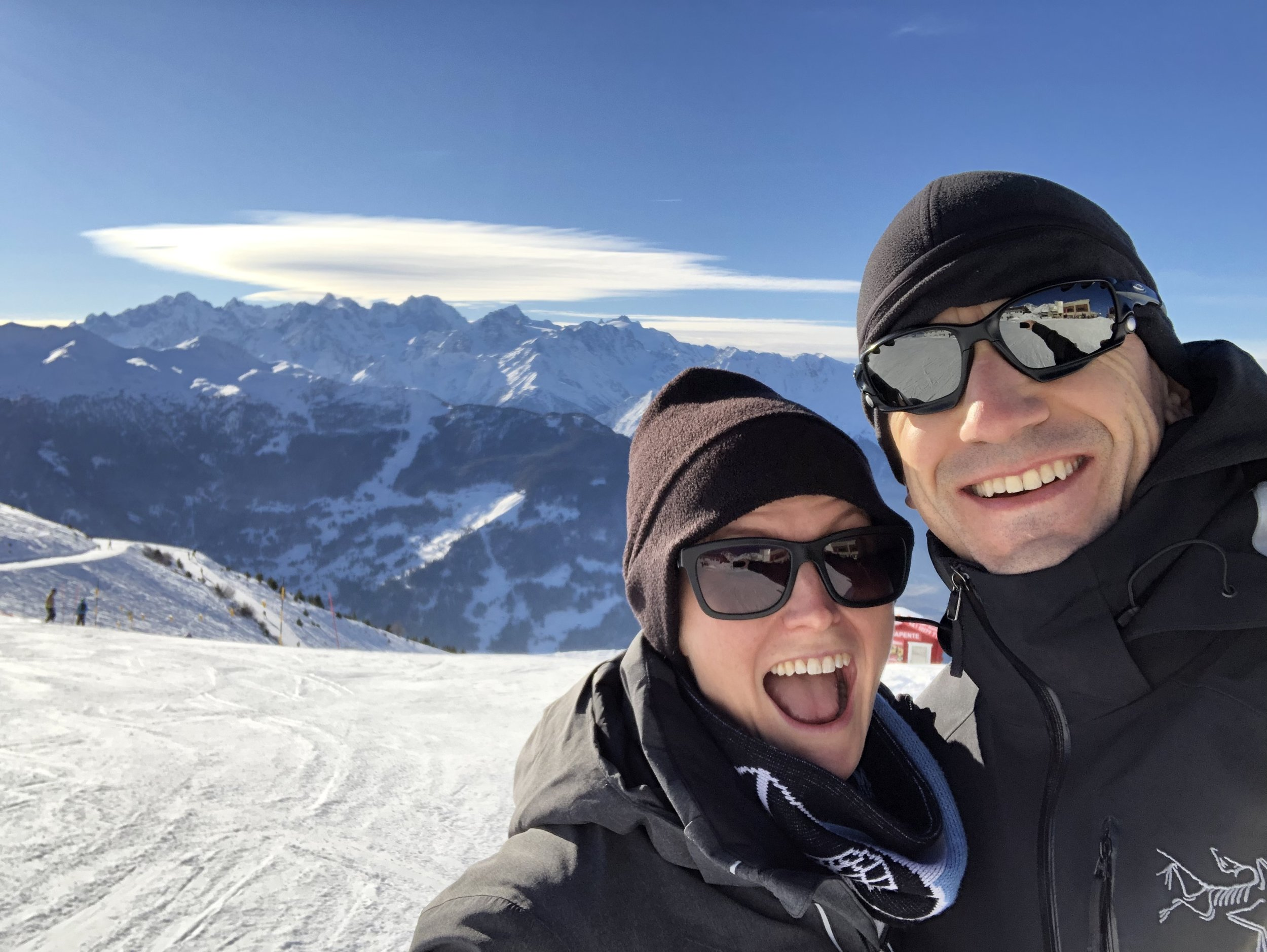 Leslie and Arnaud at the top of one of the Verbier ski slopes. Verbier, Switzerland, December 2018.