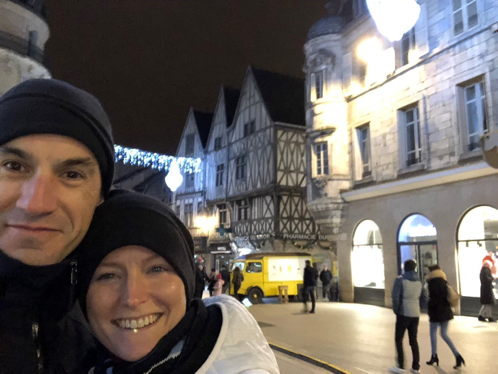 Arnaud and Leslie out exploring on our one night in town. Dijon, France, December 2018..